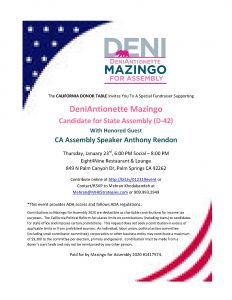 1/23 DeniAntionette Mazingo & Assembly Speaker Anthony Rendon @ Eight4Nine Restaurant & Lounge